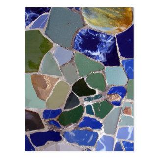 Carte Postale Mosaïques de bleu d'Antoni Gaudi