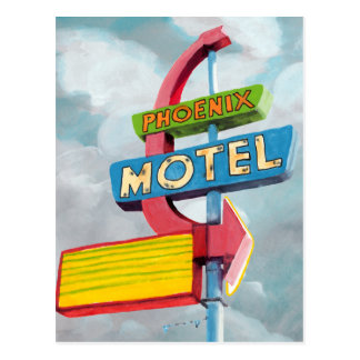 Carte Postale Motel de Phoenix d'aquarelle
