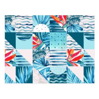 Carte Postale Motif abstrait géométrique turquoise tropical