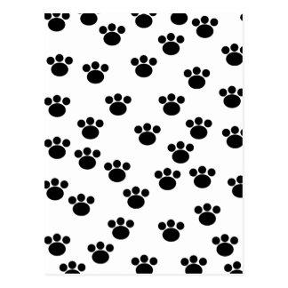 Carte Postale Motif animal d'empreinte de patte. Noir et blanc.