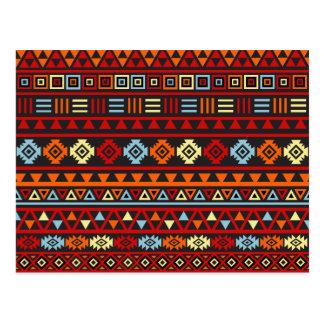 Carte Postale Motif aztèque de style - rouge bleu de jaune