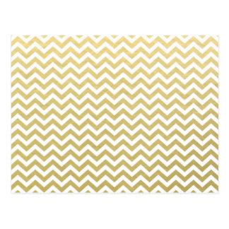Carte Postale Motif blanc de Chevron de feuille d'or