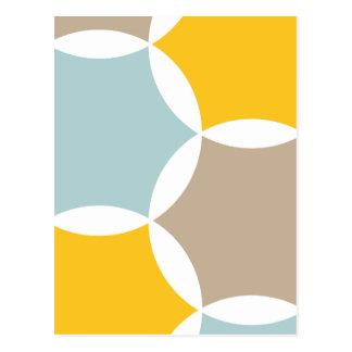 Carte Postale Motif bleu d'hexagone de jaune géométrique de