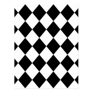 Carte Postale Motif Checkered de diamant noir et blanc