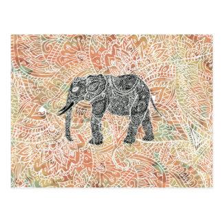 Carte Postale Motif coloré de henné d'éléphant tribal de Paisley