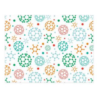 Carte Postale Motif coloré de molécules