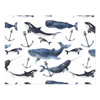 Carte Postale Motif de baleine et d'ancre d'aquarelle