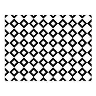 Carte Postale Motif de diamant blanc et noir