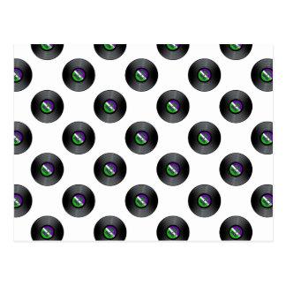 Carte Postale Motif de disque de roches de vinyle