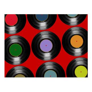 Carte Postale motif de disques vinyle de couleur