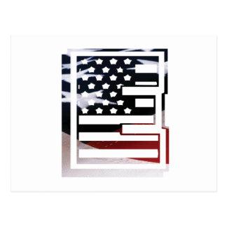 Carte Postale Motif de drapeau des Etats-Unis d'initiale de