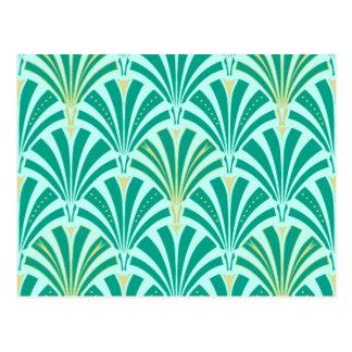 Carte Postale Motif de fan d'art déco - turquoise sur l'aqua