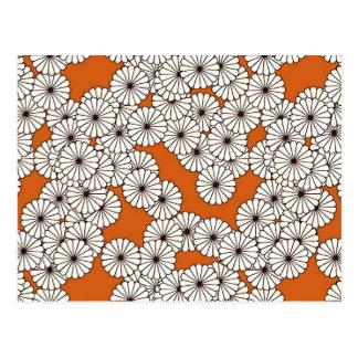 Carte Postale Motif de fleur d'art déco - crème sur la rouille