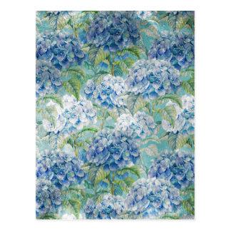 Carte Postale Motif de fleur floral vintage bleu d'hortensia