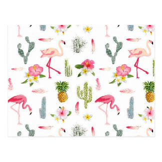 Carte Postale Motif de ketmie d'ananas de cactus de flamant