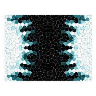 Carte Postale Motif de mosaïque noir et turquoise
