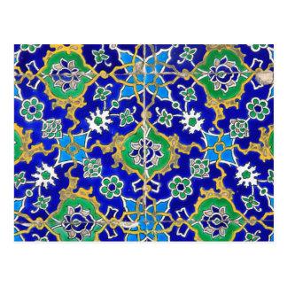 Carte Postale Motif de mosaïque ornemental bleu