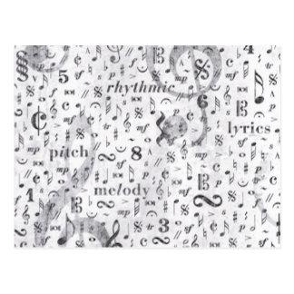 Carte Postale Motif de notes de musique