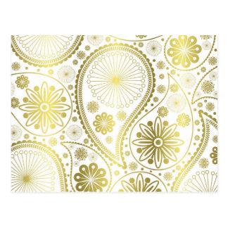 Carte Postale Motif de Paisley d'or