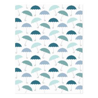 Carte Postale Motif de parapluies de jour pluvieux dans les