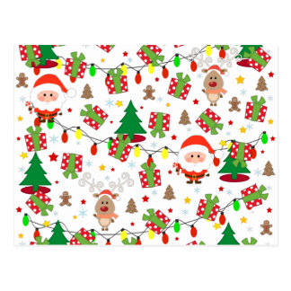 Carte Postale Motif de Père Noël et de Rudolph