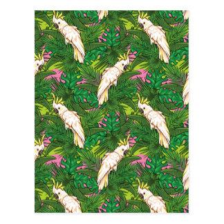 Carte Postale Motif de perroquet avec des palmettes