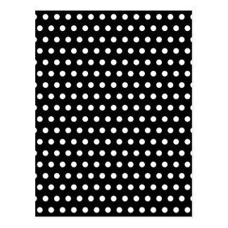 Carte Postale Motif de point noir et blanc de polka. Tacheté