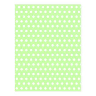 Carte Postale Motif de point vert et blanc de polka. Tacheté
