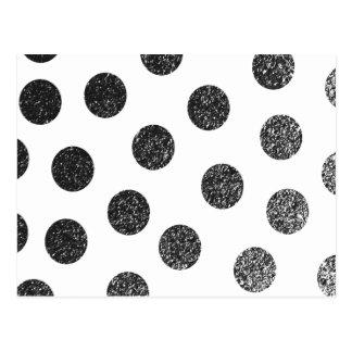 Carte Postale Motif de pois blanc noir moderne de scintillement