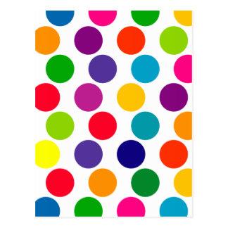 Carte Postale Motif de pois multicolore lumineux