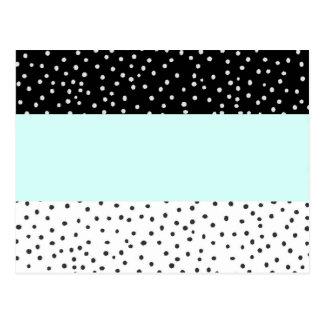 Carte Postale Motif de pois turquoise blanc noir d'aquarelle