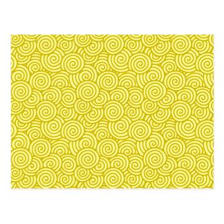 Carte Postale Motif de remous de Japonais - moutarde et