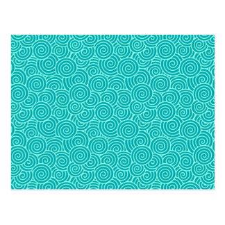 Carte Postale Motif de remous de Japonais - turquoise et aqua