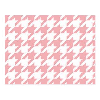 Carte Postale Motif de rose en pastel de pied-de-poule