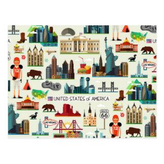 Carte Postale Motif de symboles des Etats-Unis