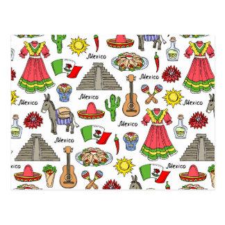 Carte Postale Motif de symboles du Mexique |