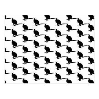 Carte Postale Motif de wallaby. Noir et blanc.