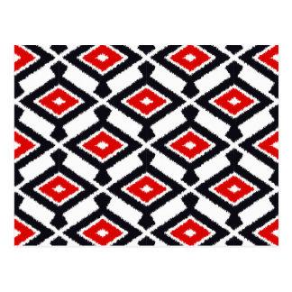Carte Postale Motif d'Ikat de Navajo - rouge foncé, noir et
