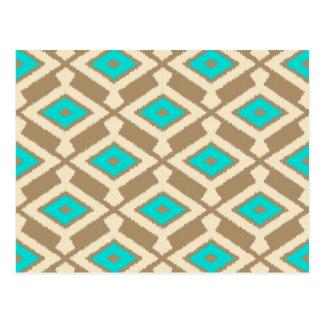 Carte Postale Motif d'Ikat de Navajo - turquoise, Taupe et beige