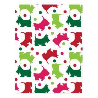 Carte Postale Motif écossais de Noël de terriers