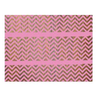 Carte Postale Motif en bois rose Girly des Andes de zigzag de
