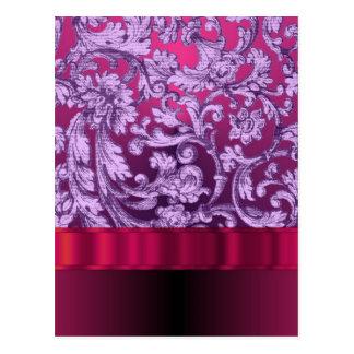 Carte Postale Motif floral de damassé mauve sur le magenta