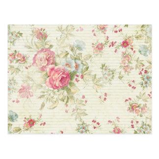 Carte Postale Motif floral rose grunge chic minable