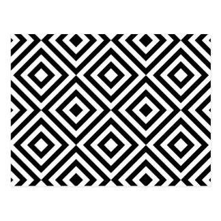 Carte Postale Motif géométrique abstrait de carrés, blanc noir