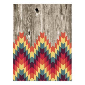 Carte Postale Motif géométrique abstrait moderne sur le bois