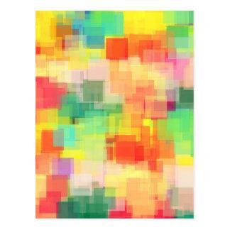 Carte Postale Motif géométrique abstrait multicolore