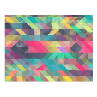 Carte Postale Motif géométrique coloré frais de triangles