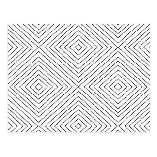 Carte Postale Motif géométrique moderne de carrés noirs sur la