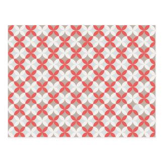 Carte Postale Motif géométrique rouge et blanc