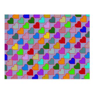 Carte Postale motif girly de coeurs graphiques colorés